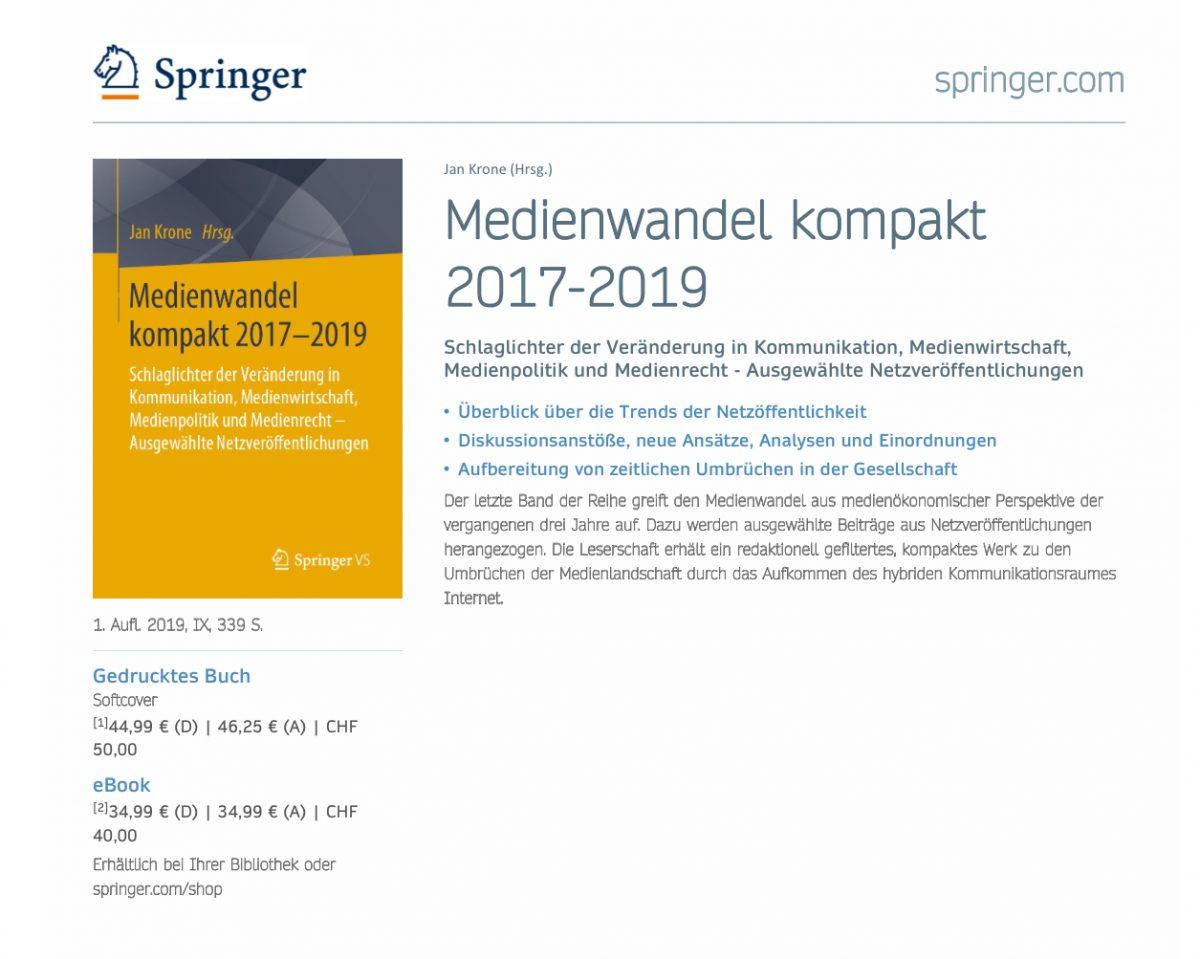 """Buchveröffentlichung """"Medienwandel kompakt 2017-2019"""""""